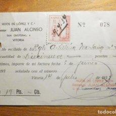 Facturas antiguas: RECIBO - HIJOS DE LOPEZ Y CIA - SUCESOR DE JUAN ALONSO - SAN CRISTOBAL, 6 - VITORIA 30 JULIO 1937. Lote 199525635