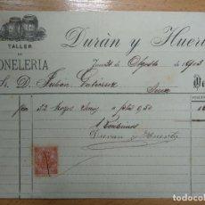 Factures anciennes: FACTURA TALLER DE TONELERIA, DURAN Y HUERTA. JEREZ, CADIZ. 1903. Lote 199959485