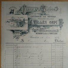 Facturas antiguas: FABRICA DE TEJIDOS CAÑAMAZO MERCERIA J. VALLES ORPI. BARCELONA 1897. Lote 199971876