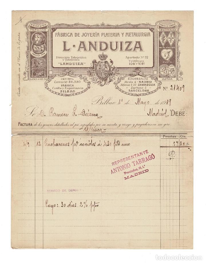 FÁBRICA DE JOYERÍA PLATERÍA Y METALURGIA. L. ANDUIZA, BILBAO. BARCELONA. 1919. (Coleccionismo - Documentos - Facturas Antiguas)