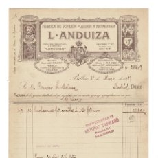Facturas antiguas: FÁBRICA DE JOYERÍA PLATERÍA Y METALURGIA. L. ANDUIZA, BILBAO. BARCELONA. 1919.. Lote 200342272