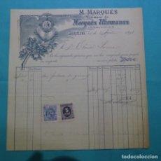 Facturas antiguas: FACTURA DE 1898.MARQUES HERMANOS.FÁBRICA HILOS.IMPUESTO GUERRA.OTONIEL LARRUA.TIMBRE MOVIL.. Lote 200642273