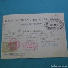 Facturas antiguas: RECIBO MANCOMUNITAT DE CATALUNYA 1922.MIGUEL VELLVE GAY.SERVICIOS TELÉFONO.MOLINS DE REY.. Lote 200725977