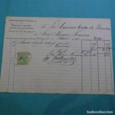 Facturas antiguas: FACTURA DE JOSÉ ALVAREZ FONSECA.1885.CON TIMBRE MOVIL.. Lote 200869880
