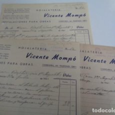 Facturas antiguas: VALENCIA. HOJALATERÍA VICENTE MOMPÓ. LOTE 3 FACTURAS 1944. ARRIBA ESPAÑA, SALUDO A FRANCO. Lote 201224821