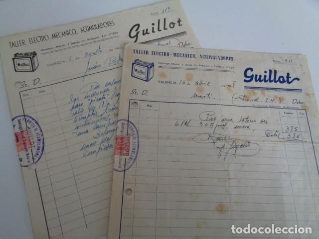 VALENCIA. GUILLOT. TALLER ELECTRO MECANICO. ACUMULADORES. LOTE 2 FACTURAS 1948 segunda mano