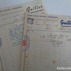 Facturas antiguas: VALENCIA. GUILLOT. TALLER ELECTRO MECANICO. ACUMULADORES. LOTE 2 FACTURAS 1948. Lote 201225487