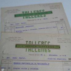 Facturas antiguas: VALENCIA. TALLERES J. ARFELIA SANRAMÓN. LOTE 2 FACTURAS AÑOS 1944.. Lote 201226261