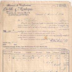 Fatture antiche: FACTURA. ALMACÉN DE CONFECCIONES. CASTILLO Y MONTEQUI. VALLADOLID- BURGOS. AÑO 1930. Lote 201686608