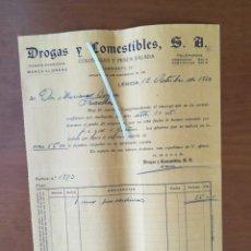 Facturas antiguas: FACTURA DROGAS Y COMESTIBLES 1930 LÉRIDA 1000 SARDINAS. Lote 201768991