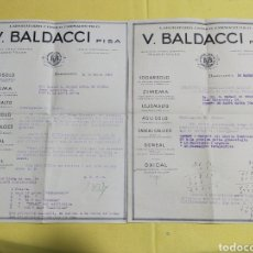 Facturas antiguas: ANTIGUAS FACTURAS V.BALDACCI PISA 1928. Lote 202041888