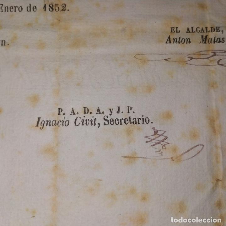 Facturas antiguas: DOCUMENTO DE CONTRIBUCIÓN. PARA ALEJANDRO GASSER. SAN GERVASIO. CATALUNYA. ESPAÑA 1852 - Foto 3 - 202949356