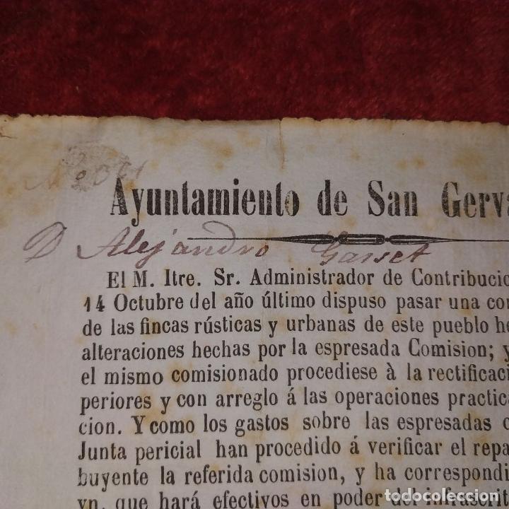 Facturas antiguas: DOCUMENTO DE CONTRIBUCIÓN. PARA ALEJANDRO GASSER. SAN GERVASIO. CATALUNYA. ESPAÑA 1852 - Foto 6 - 202949356