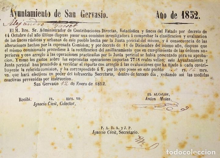 DOCUMENTO DE CONTRIBUCIÓN. PARA ALEJANDRO GASSER. SAN GERVASIO. CATALUNYA. ESPAÑA 1852 (Coleccionismo - Documentos - Facturas Antiguas)