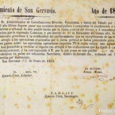 Facturas antiguas: DOCUMENTO DE CONTRIBUCIÓN. PARA ALEJANDRO GASSER. SAN GERVASIO. CATALUNYA. ESPAÑA 1852. Lote 202949356