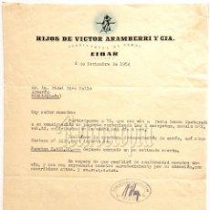 Facturas antiguas: FACTURA FÁBRICA DE ARMAS HIJOS DE VÍCTOR ARAMBERRI Y CIA. EIBAR GUIPÚZCOA 1954. Lote 203934208