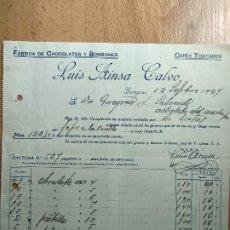 Factures anciennes: FACTURA DE ZARAGOZA -FABRICA CHOCOLATES Y BOMBONES LUIS AINSA CALVO. CAFES TOSTADOS. AÑO 1927.. Lote 204495362