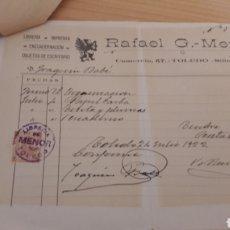Fatture antiche: FACTURA RAFAEL G MENOR TOLEDO 1922-LIBRERIA IMPRENTA. Lote 204508226