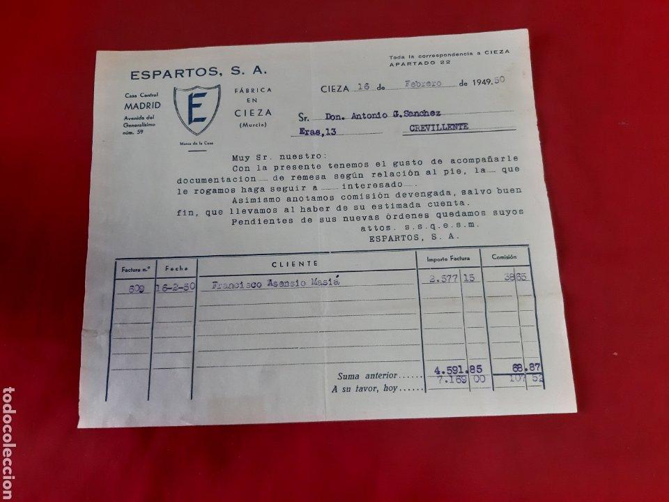 FACTURA ESPARTO SA FÁBRICA EN CIEZA MURCIA 1950 (Coleccionismo - Documentos - Facturas Antiguas)