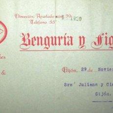 Facturas antiguas: FÁBRICA DE LOZA LA ASTURIANA. BENGURÍA Y FIGUEROLA. DOCUMENTO DE DÉBITO DE 1920.. Lote 204710667