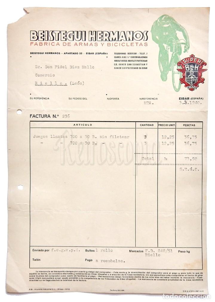 FACTURA CARTA COMERCIAL FABRICA DE ARMAS Y BICICLETAS (BH) BEISTEGUI HERMANOS. EIBAR GUIPUZCOA 1940 (Coleccionismo - Documentos - Facturas Antiguas)