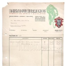 Facturas antiguas: FACTURA CARTA COMERCIAL FABRICA DE ARMAS Y BICICLETAS (BH) BEISTEGUI HERMANOS. EIBAR GUIPUZCOA 1940. Lote 204717295