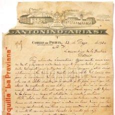Facturas antiguas: FACTURA CARTA COMERCIAL MANTEQUILLA SIDRA LA PRAVIANA ANTONINO ARIAS. CORIAS DE PRAVIA ASTURIAS 1930. Lote 204719050