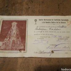 Facturas antiguas: RECIBO HERMANDAD DEL SANTÍSIMO SACRAMENTO Y NUESTRA SEÑORA DE LOS DOLORES 1946 ALMERÍA. Lote 204972496