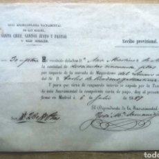 Facturas antiguas: NOMBRAMIENTO COMO MAYORDOMO DE LA SACRAMENTAL A DON CARLOS DE BORBÓN Y MARTÍNEZ DE ARIZA 1887.. Lote 205269988