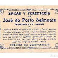 Facturas antiguas: SANTIAGO DE COMPOSTELA.(CORUÑA).- PUBLICIDAD BAZAR Y FERRETERÍA DE JOSÉ DO PORTO SALMONTE.. Lote 205527687