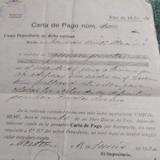 Facturas antiguas: CARTA DE PAGO 1920-21 (¿BORJA?). Lote 205541061