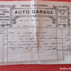 Facturas antiguas: PEDRO VALLVERDU. AUTO GARAGE. FACTURA DEL TALLER DE 49 PTAS. REUS 31 DICIEMBRE 1924. Lote 205568772