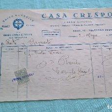 Facturas antiguas: CASA CRESPO..9 MAYO 1938..ZARAGOZA..SALUDO A FRANCO..¡ARRIBA ESPAÑA¡. Lote 205690768