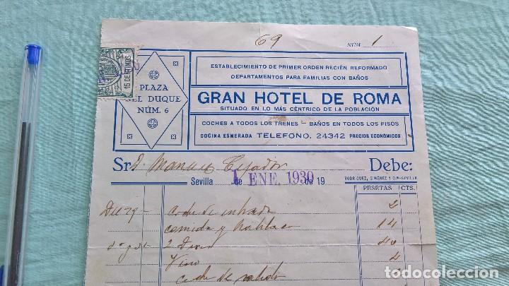 Facturas antiguas: Gran Hotel de Roma..en Sevilla..1 Enero 1930..factura - Foto 2 - 206196086