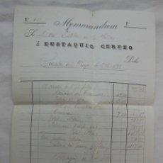 Facturas antiguas: MEMORANDUM, CUENTA DEL VIAJE 6 OCTUBRE 1896. ESTEBAN DE LA VILLA, EUSTAQUIO CEREZO. MADRID. Lote 206252566