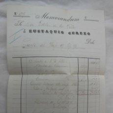 Facturas antiguas: MEMORANDUM, CUENTA DEL VIAJE 19 SEPTIEMBRE 1896. ESTEBAN DE LA VILLA, EUSTAQUIO CEREZO. MADRID. Lote 206252947