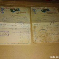 Facturas antiguas: LOTE 2 FACTURAS ESTUCHADOS TENA AZUCAR CONSTANTINA SEVILLA LUIS ALVAREZ 1957-60. Lote 206537827
