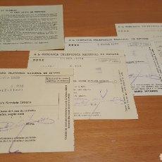 Facturas antiguas: LOTE DE 5 RECIBOS DE TELEFÓNICA AÑOS 1933 1934 1935. Lote 206561153