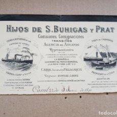 Facturas antiguas: HIJOS DE S BUHIGAS Y PRAT ADUANAS CONSIGNA CARRIL VILAGARCIA 1893 MEMBRETE VIGO GALICIA BARCOS. Lote 279360758