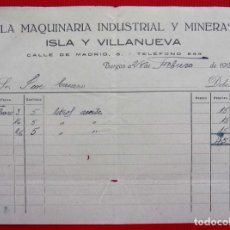 Facturas antiguas: BURGOS. ANTIGUA FACTURA. AÑO: 1923. LA MAQUINARIA INDUSTRIAL Y MINERA. BUEN ESTADO.. Lote 207033537