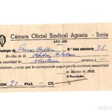 Facturas antiguas: CUEVAS DE AYLLÓN.(SORIA).- CAMARA SINDICAL AGRARIA. 1968. RECIBO.. Lote 207314016