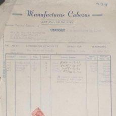 Factures anciennes: FACTURA. MANUFACTURAS CABEZAS. ARTÍCULOS DE PIEL. UBRIQUE. ESPAÑA 1949. Lote 208589825