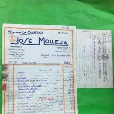 Facturas antiguas: FACTURA ALMACENES LA CAMPANA, JOSE MOLLEJA, FERRETERIA, CÓRDOBA, 1938 GUERRA CIVIL,. Lote 208879551