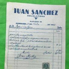 Facturas antiguas: FACTURA JUAN SANCHEZ, HOJALATERO, CÓRDOBA, 1938 GUERRA CIVIL, CON POLIZA. Lote 208882198