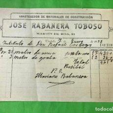 Facturas antiguas: FACTURA JOSE RABANERA TOBOSO ABASTECEDOR MATERIAL DE CONSTRUCCION, CÓRDOBA, 1938 GUERRA CIVIL,. Lote 208883535