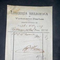 Fatture antiche: FACTURA. LIBRERIA RELIGIOSA DE VICTORIANO IBAÑEZ. CADIZ, 1899. VER. Lote 209196933