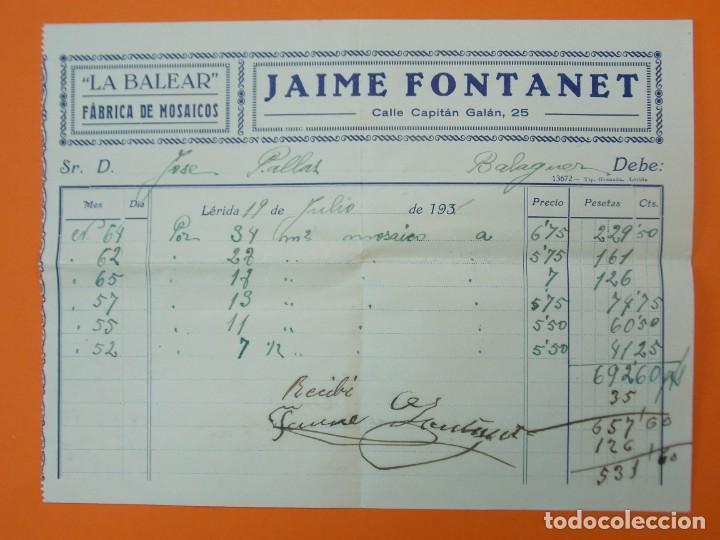 "FACTURA - ""LA BALEAR"" FÁBRICA DE MOSAICOS, JAIME FONTANET, LÉRIDA - AÑO 1931...L1494 (Coleccionismo - Documentos - Facturas Antiguas)"