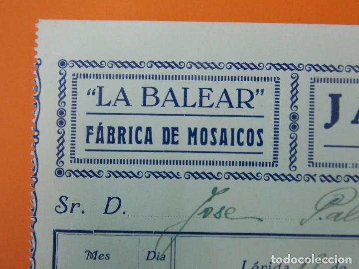"Facturas antiguas: FACTURA - ""LA BALEAR"" FÁBRICA DE MOSAICOS, JAIME FONTANET, LÉRIDA - AÑO 1931...L1494 - Foto 2 - 210001085"