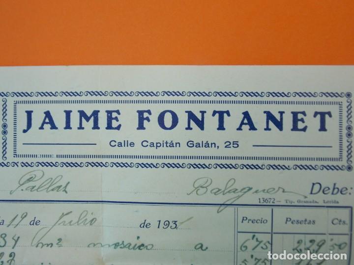 "Facturas antiguas: FACTURA - ""LA BALEAR"" FÁBRICA DE MOSAICOS, JAIME FONTANET, LÉRIDA - AÑO 1931...L1494 - Foto 3 - 210001085"