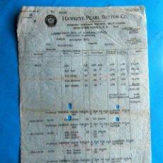Facturas antiguas: FACTURA HECHA A UN INDUSTRIAL DE BARCELONA POR HAWKEYE PEARL BUTTON CO. 1920. Lote 210226705